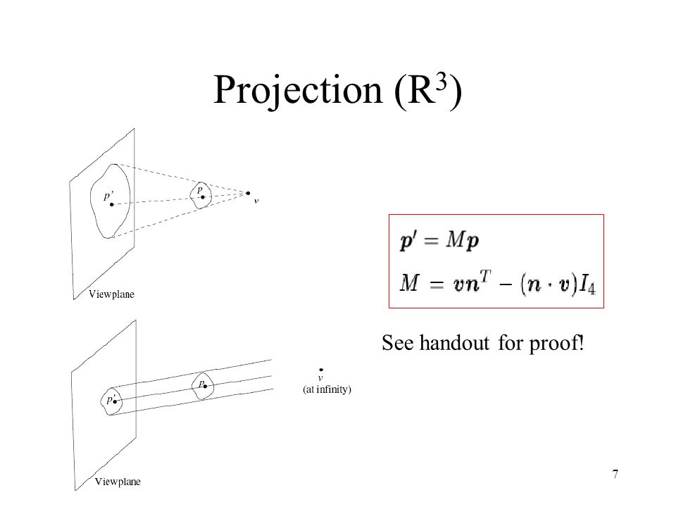 7 Projection (R 3 ) See handout for proof!