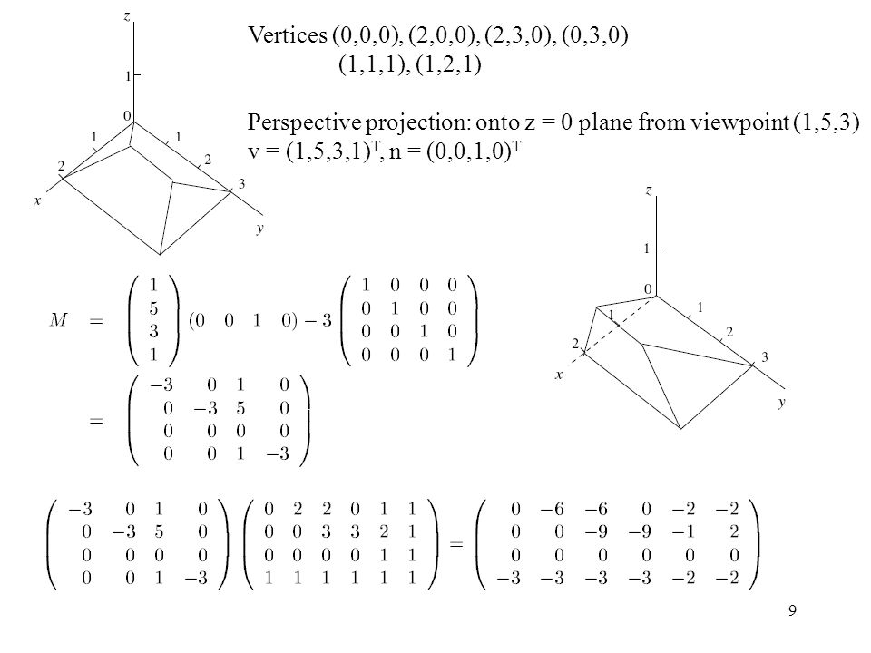 9 Vertices (0,0,0), (2,0,0), (2,3,0), (0,3,0) (1,1,1), (1,2,1) Perspective projection: onto z = 0 plane from viewpoint (1,5,3) v = (1,5,3,1) T, n = (0,0,1,0) T