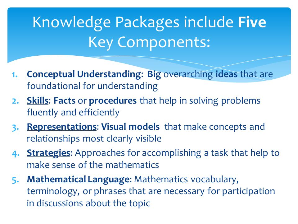 1.Conceptual Understanding: Big overarching ideas that are foundational for understanding 2.Skills: Facts or procedures that help in solving problems fluently and efficiently 3.Representations: Visual models that make concepts and relationships most clearly visible 4.Strategies: Approaches for accomplishing a task that help to make sense of the mathematics 5.Mathematical Language: Mathematics vocabulary, terminology, or phrases that are necessary for participation in discussions about the topic Knowledge Packages include Five Key Components: