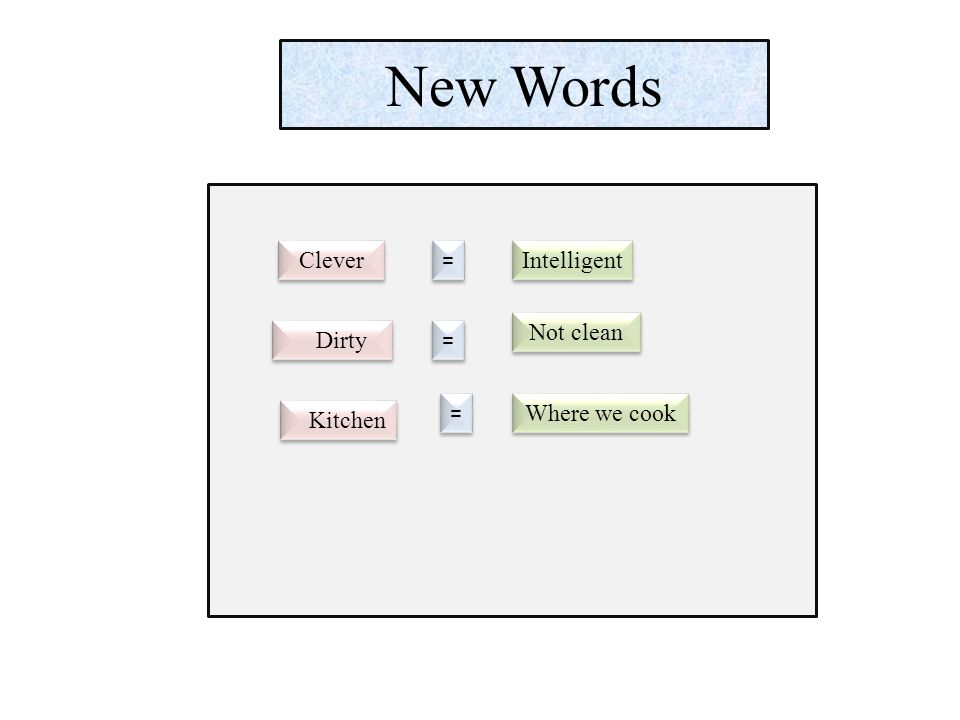 New Words Clever = = Intelligent Dirty = = Not clean Kitchen = = Where we cook
