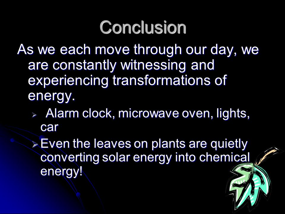 Energy source: fossil fuels (coal) Transformations: Chemical (burning) -> Thermal (steam) -> Mechanical (generator) -> Electrical -> Thermal and Mechanical (fan inside) Transformations From source to use