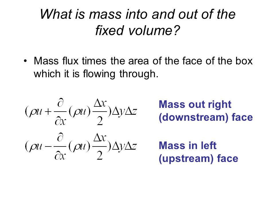 What is mass into and out of the fixed volume.