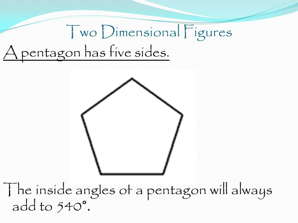 Two Dimensional Figures A pentagon has five sides.