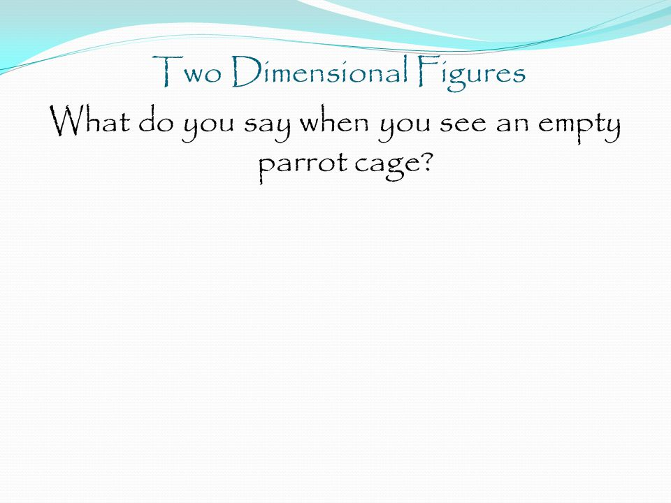 Two Dimensional Figures What do you say when you see an empty parrot cage