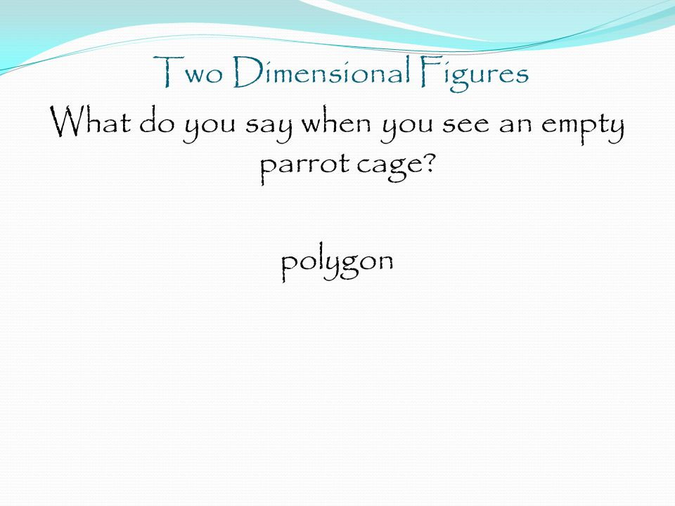 Two Dimensional Figures What do you say when you see an empty parrot cage polygon