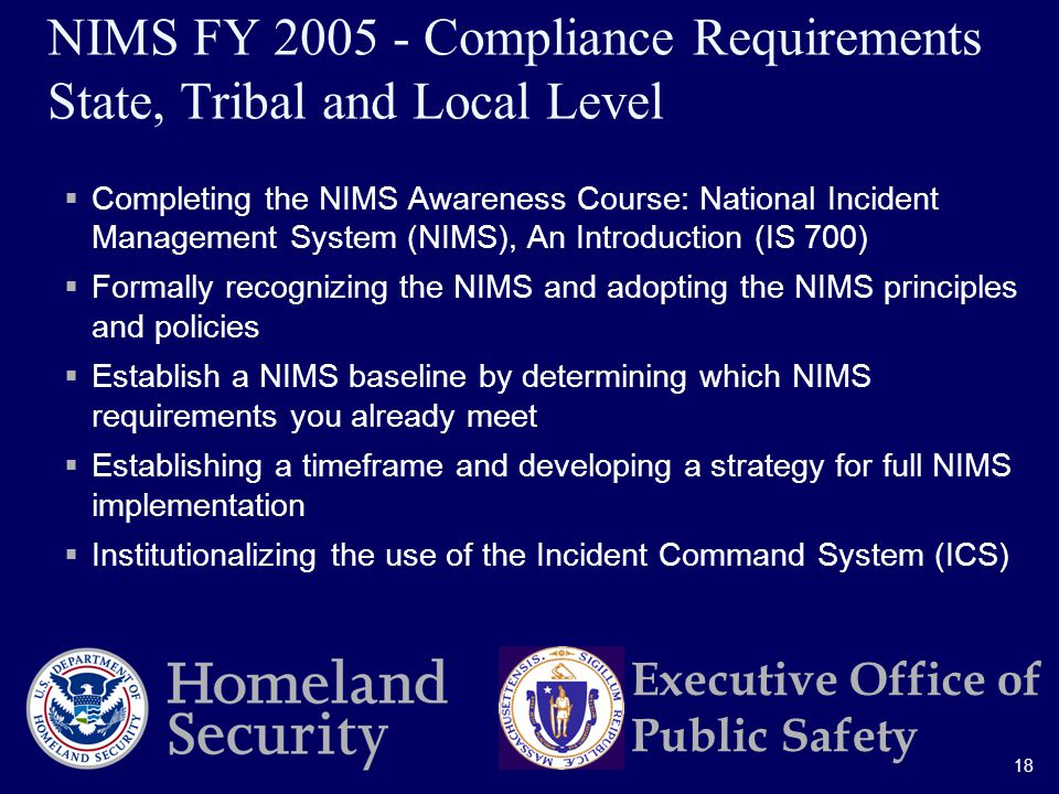 18 Executive Office of Public Safety NIMS FY Compliance Requirements State, Tribal and Local Level  Completing the NIMS Awareness Course: National Incident Management System (NIMS), An Introduction (IS 700)  Formally recognizing the NIMS and adopting the NIMS principles and policies  Establish a NIMS baseline by determining which NIMS requirements you already meet  Establishing a timeframe and developing a strategy for full NIMS implementation  Institutionalizing the use of the Incident Command System (ICS)