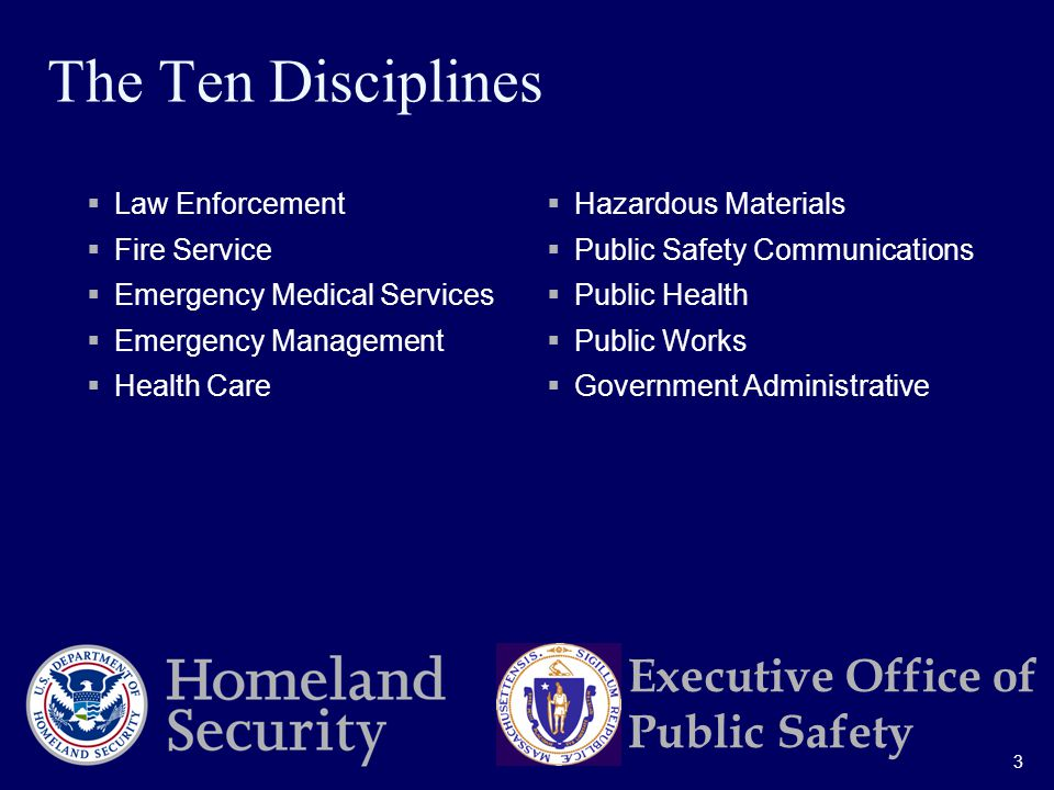 3 Executive Office of Public Safety The Ten Disciplines  Law Enforcement  Fire Service  Emergency Medical Services  Emergency Management  Health Care  Hazardous Materials  Public Safety Communications  Public Health  Public Works  Government Administrative