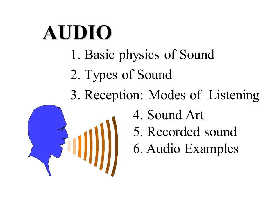 AUDIO 1  Basic physics of Sound 2  Types of Sound 3