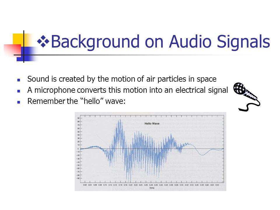  Background on Audio Signals Sound is created by the motion of air particles in space A microphone converts this motion into an electrical signal Remember the hello wave: