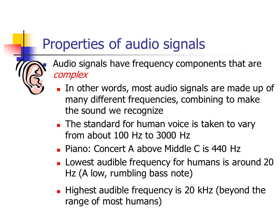 Properties of audio signals Audio signals have frequency components that are complex In other words, most audio signals are made up of many different frequencies, combining to make the sound we recognize The standard for human voice is taken to vary from about 100 Hz to 3000 Hz Piano: Concert A above Middle C is 440 Hz Lowest audible frequency for humans is around 20 Hz (A low, rumbling bass note) Highest audible frequency is 20 kHz (beyond the range of most humans)