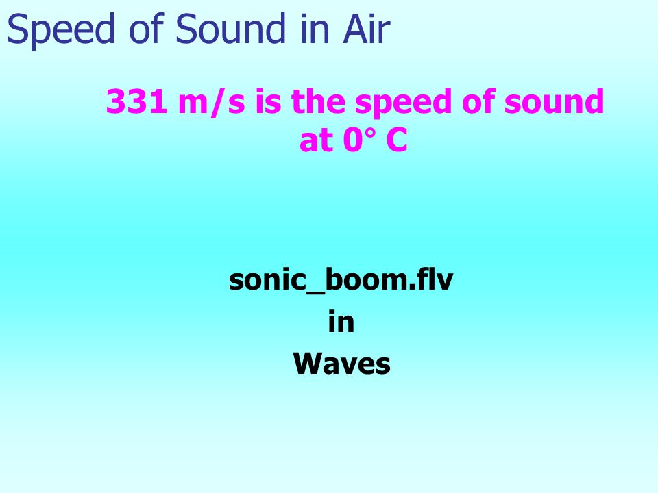Speed of Sound in Air 331 m/s is the speed of sound at 0° C sonic_boom.flv in Waves