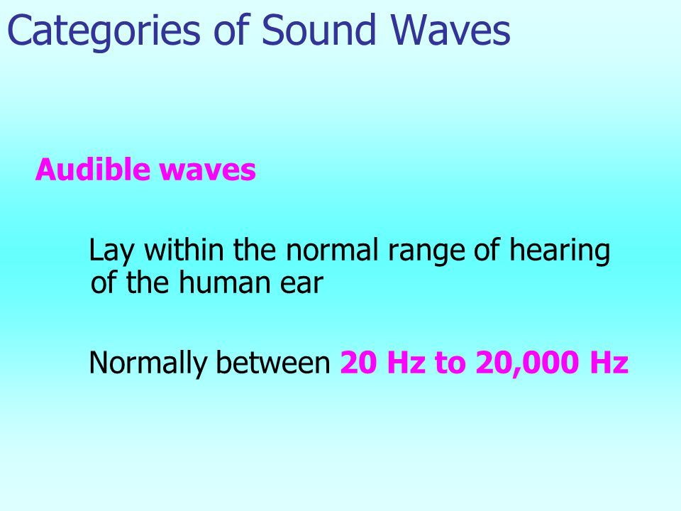 Categories of Sound Waves Audible waves Lay within the normal range of hearing of the human ear Normally between 20 Hz to 20,000 Hz