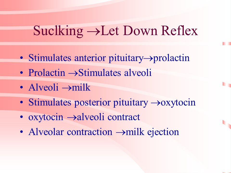 Suclking  Let Down Reflex Stimulates anterior pituitary  prolactin Prolactin  Stimulates alveoli Alveoli  milk Stimulates posterior pituitary  oxytocin oxytocin  alveoli contract Alveolar contraction  milk ejection