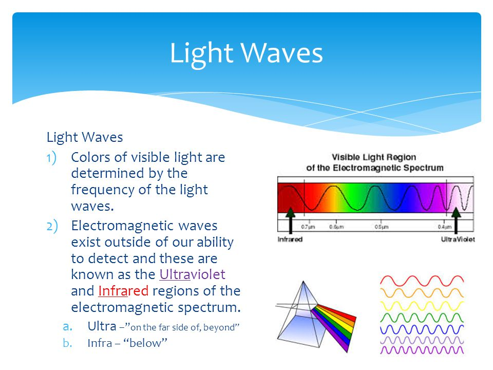 Light Waves 1)Colors of visible light are determined by the frequency of the light waves.