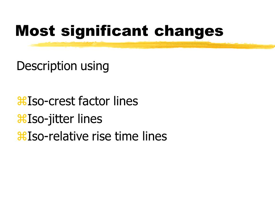 Most significant changes Description using zIso-crest factor lines zIso-jitter lines zIso-relative rise time lines