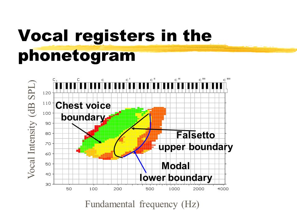 Fundamental frequency (Hz) Vocal registers in the phonetogram Falsetto upper boundary Modal lower boundary Chest voice boundary Vocal Intensity (dB SPL)