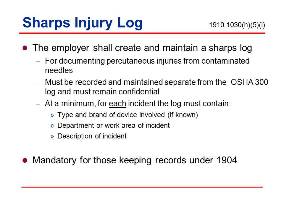 SHARPS INJURY LOG DOWNLOAD