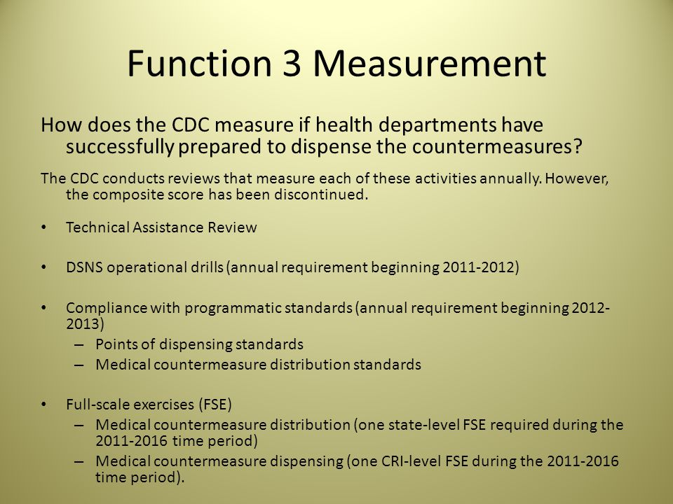 Function 3 Measurement How does the CDC measure if health departments have successfully prepared to dispense the countermeasures.