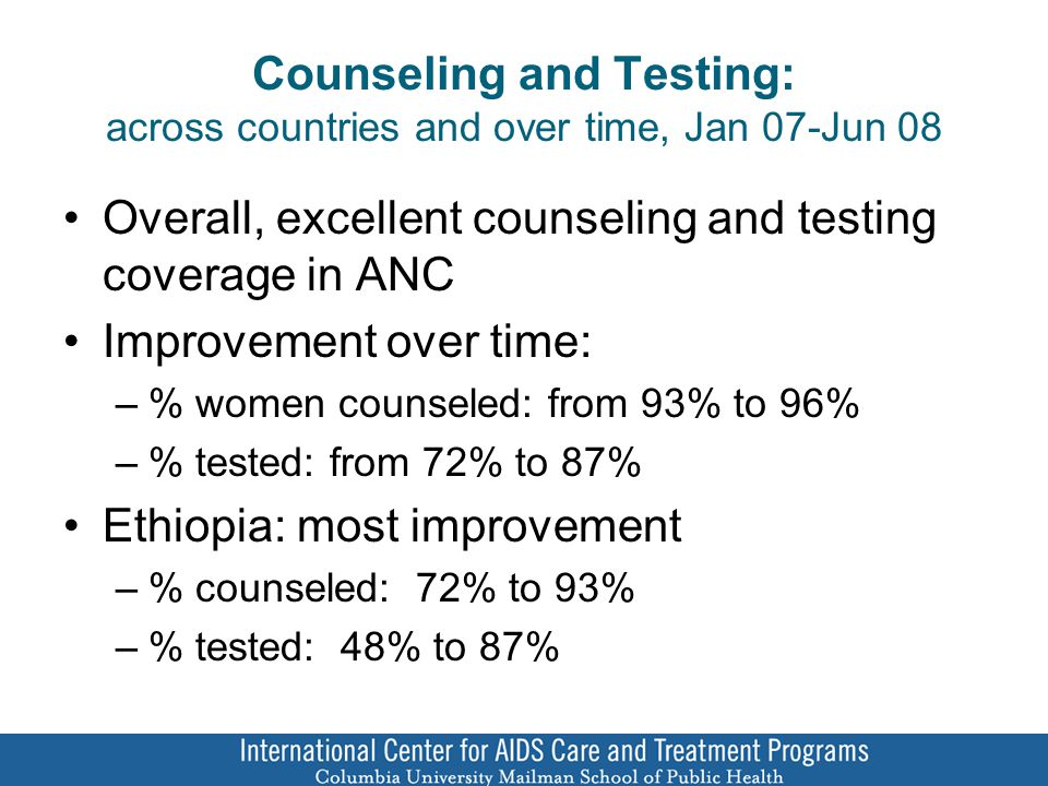 Counseling and Testing: across countries and over time, Jan 07-Jun 08 Overall, excellent counseling and testing coverage in ANC Improvement over time: –% women counseled: from 93% to 96% –% tested: from 72% to 87% Ethiopia: most improvement –% counseled: 72% to 93% –% tested: 48% to 87%