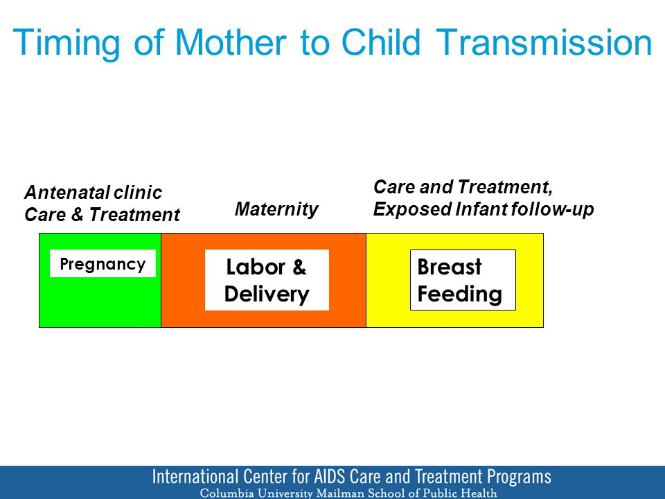Timing of Mother to Child Transmission Pregnancy Labor & Delivery Breast Feeding Antenatal clinic Care & Treatment Maternity Care and Treatment, Exposed Infant follow-up