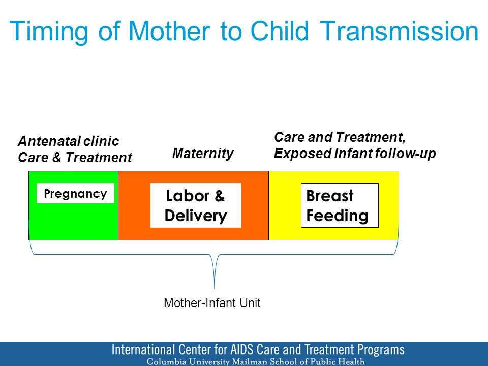 Timing of Mother to Child Transmission Pregnancy Labor & Delivery Breast Feeding Antenatal clinic Care & Treatment Maternity Care and Treatment, Exposed Infant follow-up Mother-Infant Unit