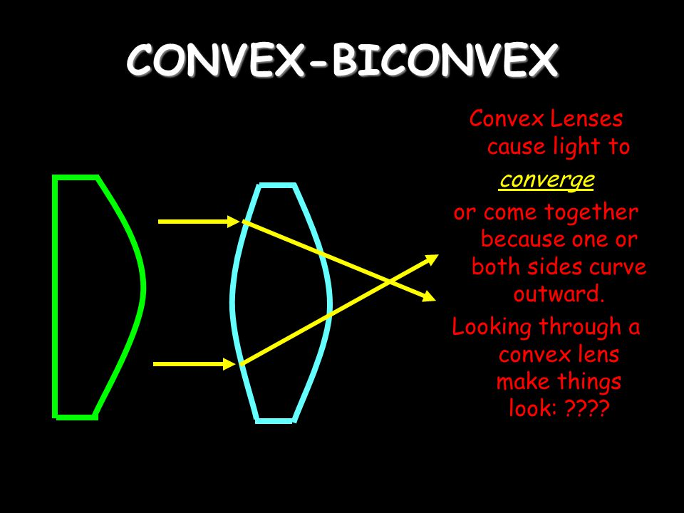 CONVEX-BICONVEX Convex Lenses cause light to converge or come together because one or both sides curve outward.