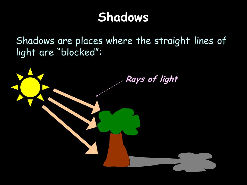Shadows Shadows are places where the straight lines of light are blocked : Rays of light