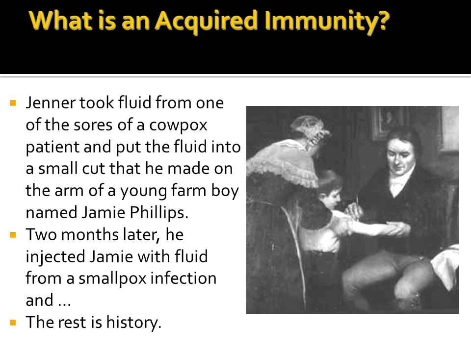  Jenner took fluid from one of the sores of a cowpox patient and put the fluid into a small cut that he made on the arm of a young farm boy named Jamie Phillips.