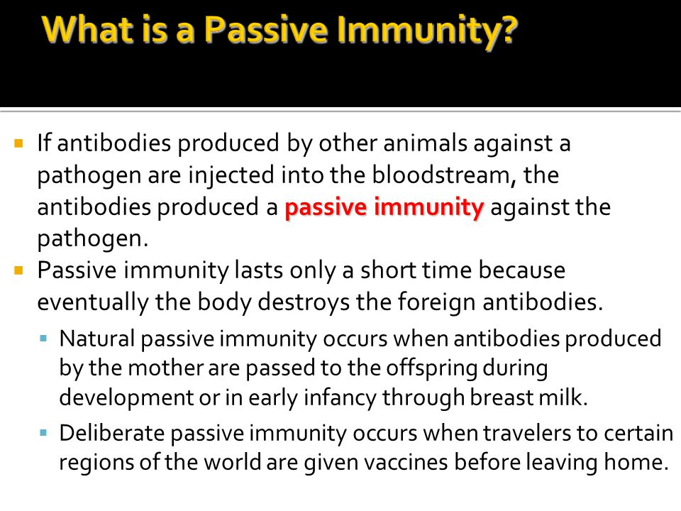 passive immunity  If antibodies produced by other animals against a pathogen are injected into the bloodstream, the antibodies produced a passive immunity against the pathogen.