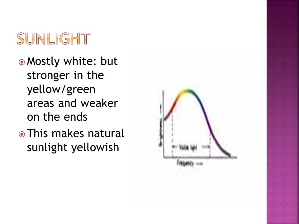  Mostly white: but stronger in the yellow/green areas and weaker on the ends  This makes natural sunlight yellowish