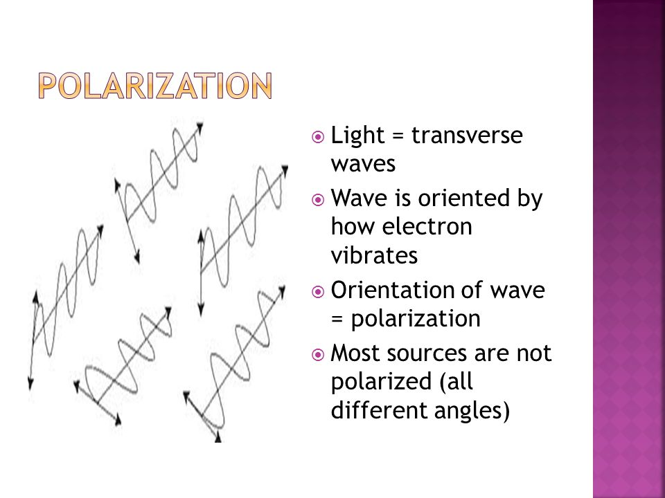  Light = transverse waves  Wave is oriented by how electron vibrates  Orientation of wave = polarization  Most sources are not polarized (all different angles)
