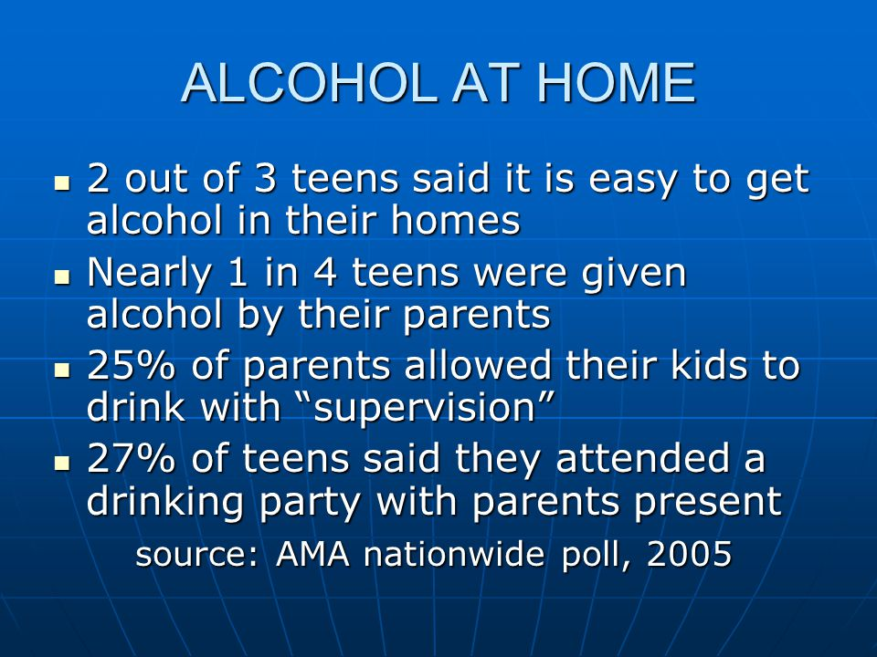 ALCOHOL AT HOME 2 out of 3 teens said it is easy to get alcohol in their homes 2 out of 3 teens said it is easy to get alcohol in their homes Nearly 1 in 4 teens were given alcohol by their parents Nearly 1 in 4 teens were given alcohol by their parents 25% of parents allowed their kids to drink with supervision 25% of parents allowed their kids to drink with supervision 27% of teens said they attended a drinking party with parents present 27% of teens said they attended a drinking party with parents present source: AMA nationwide poll, 2005 source: AMA nationwide poll, 2005