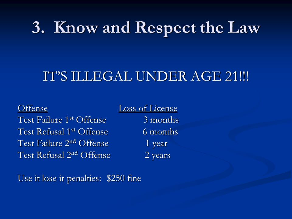 3. Know and Respect the Law IT'S ILLEGAL UNDER AGE 21!!.