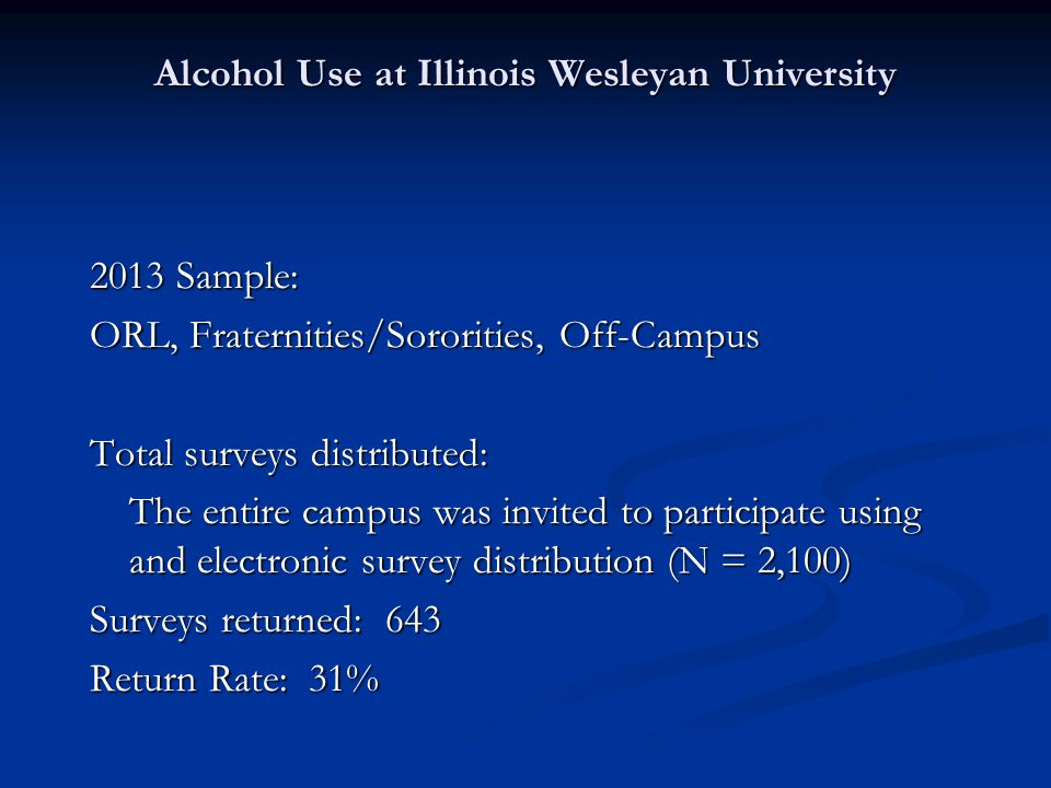 Alcohol Use at Illinois Wesleyan University 2013 Sample: ORL, Fraternities/Sororities, Off-Campus Total surveys distributed: The entire campus was invited to participate using and electronic survey distribution (N = 2,100) Surveys returned: 643 Return Rate: 31%