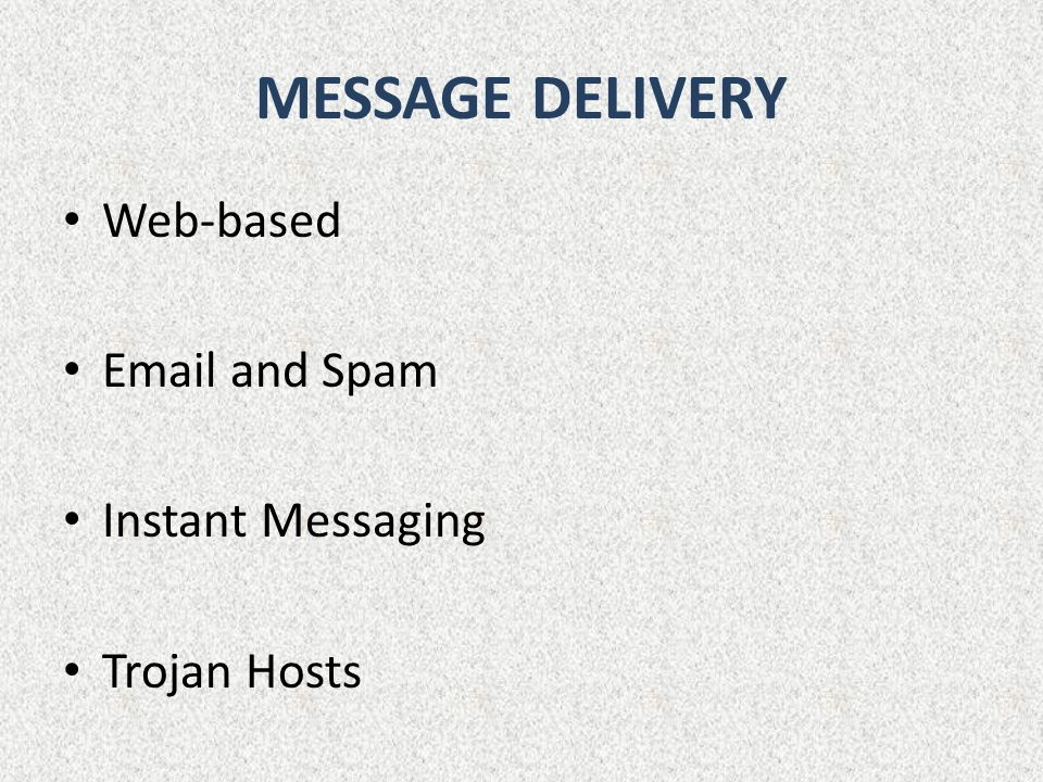 MESSAGE DELIVERY Web-based  and Spam Instant Messaging Trojan Hosts
