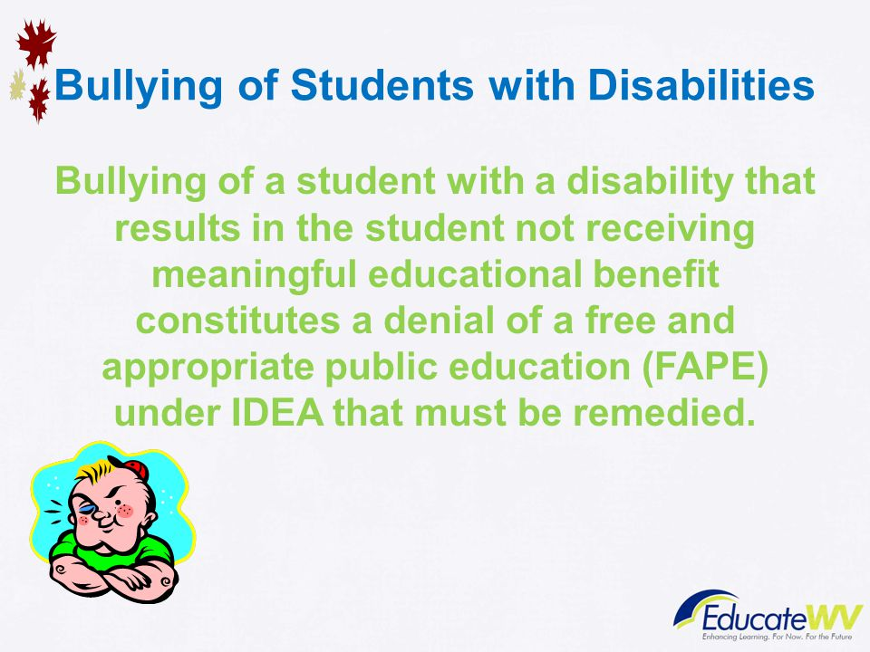 Bullying And Students With Disabilities >> Bullying Of Students With Disabilities Office Of Special Programs