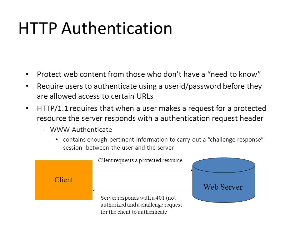HTTP Authentication Protect web content from those who don't have a need to know Require users to authenticate using a userid/password before they are allowed access to certain URLs HTTP/1.1 requires that when a user makes a request for a protected resource the server responds with a authentication request header – WWW-Authenticate contains enough pertinent information to carry out a challenge-response session between the user and the server Web Server Client Client requests a protected resource Server responds with a 401 (not authorized and a challenge request for the client to authenticate