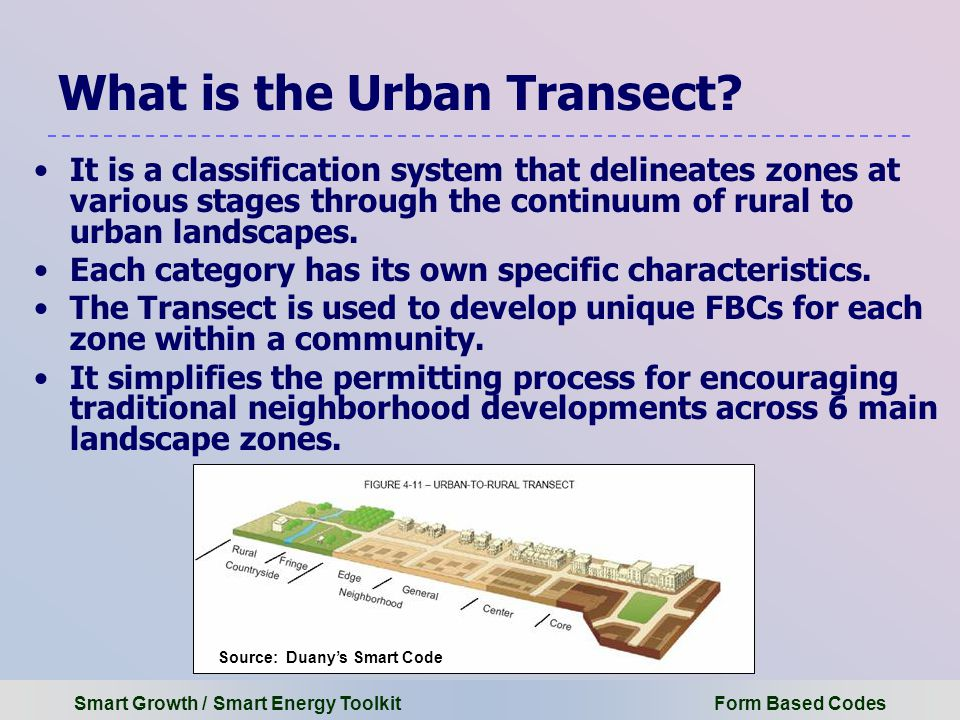 Smart Growth / Smart Energy Toolkit Form Based Codes What is the Urban Transect.