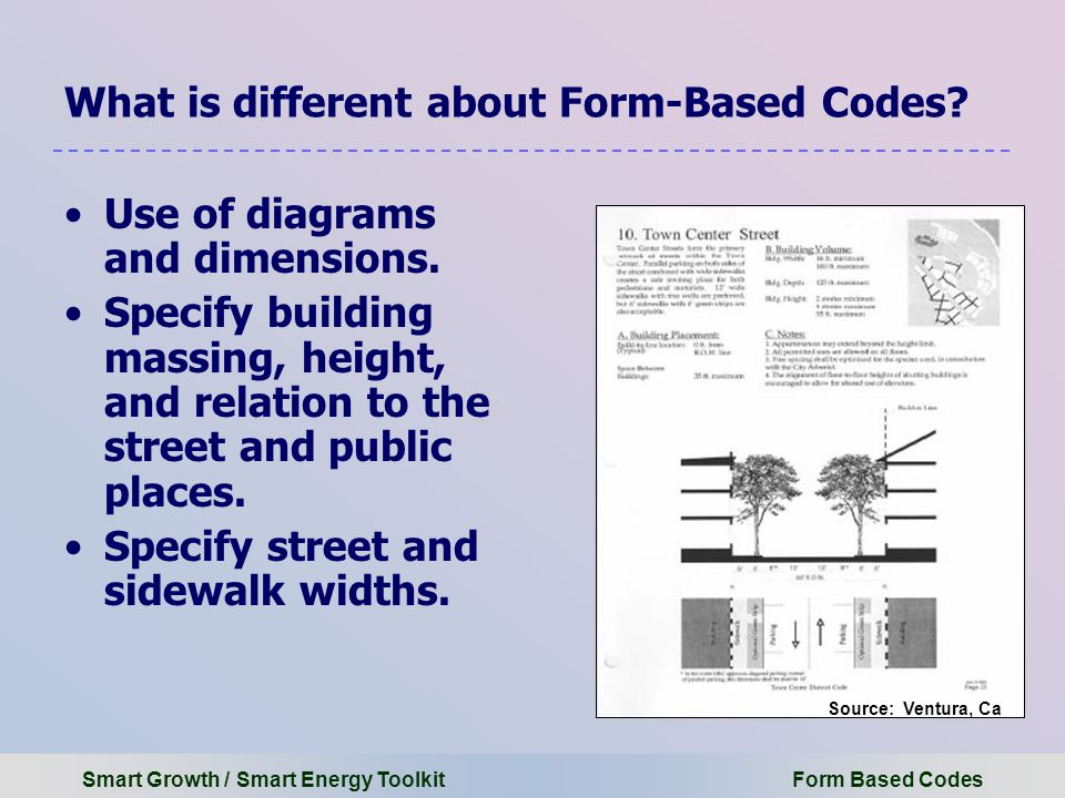 Smart Growth / Smart Energy Toolkit Form Based Codes What is different about Form-Based Codes.