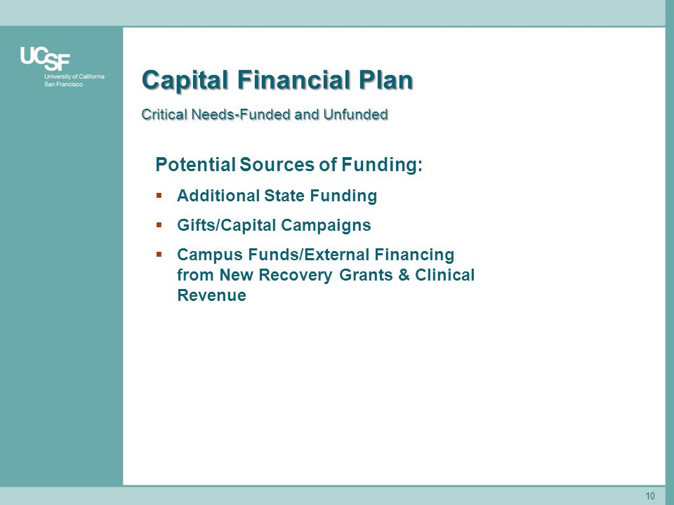 10 Capital Financial Plan Critical Needs-Funded and Unfunded