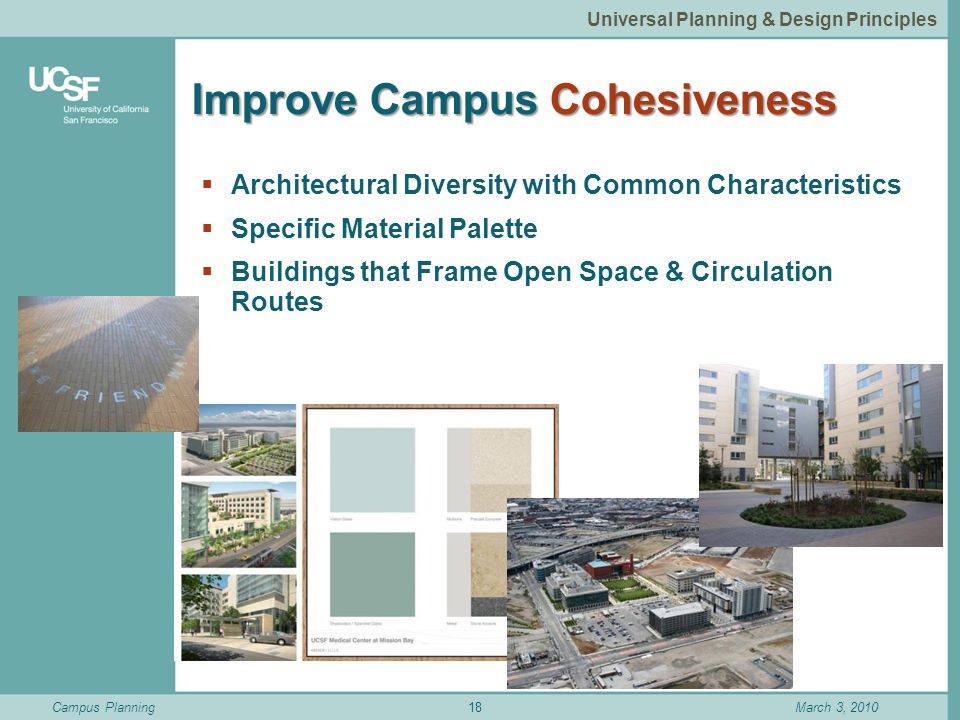 Campus PlanningMarch 3, 2010 Improve Campus Cohesiveness  Architectural Diversity with Common Characteristics  Specific Material Palette  Buildings that Frame Open Space & Circulation Routes 18 Universal Planning & Design Principles