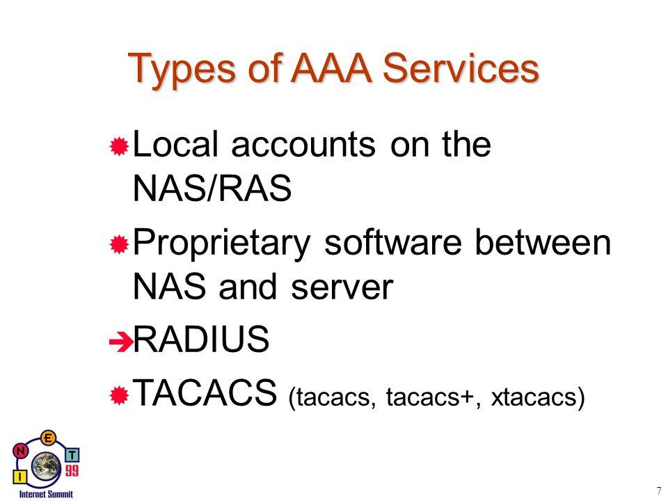 AAA Services  2 è Authentication è Authorization è