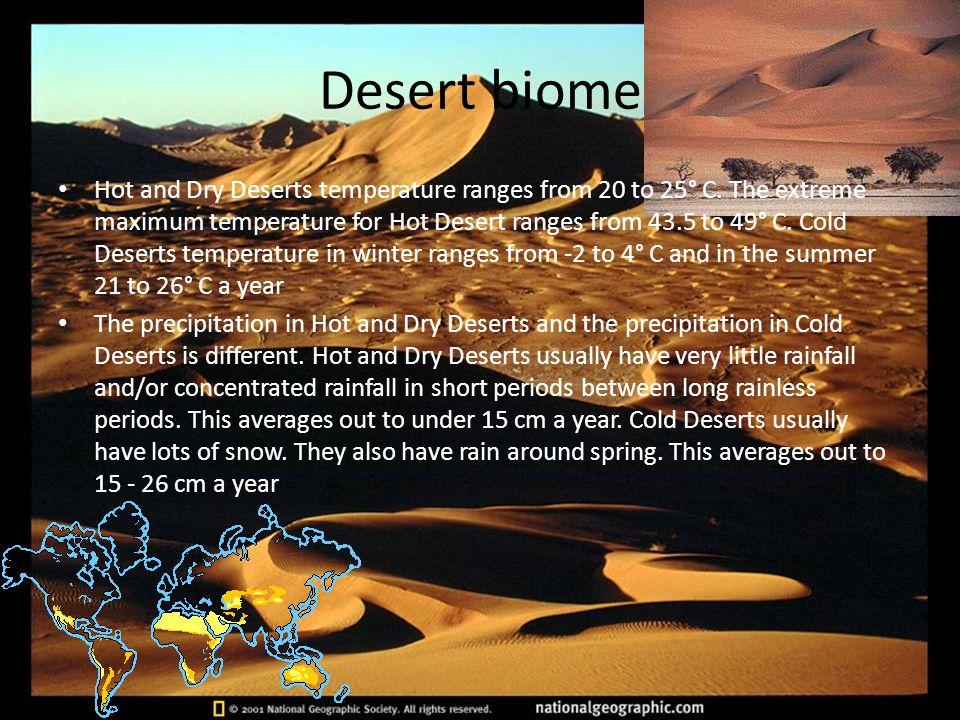 hot and dry desert biome