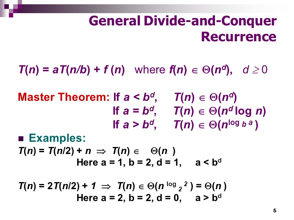 Chapter 4 Divide And Conquer Master Theorem Mergesort Quicksort