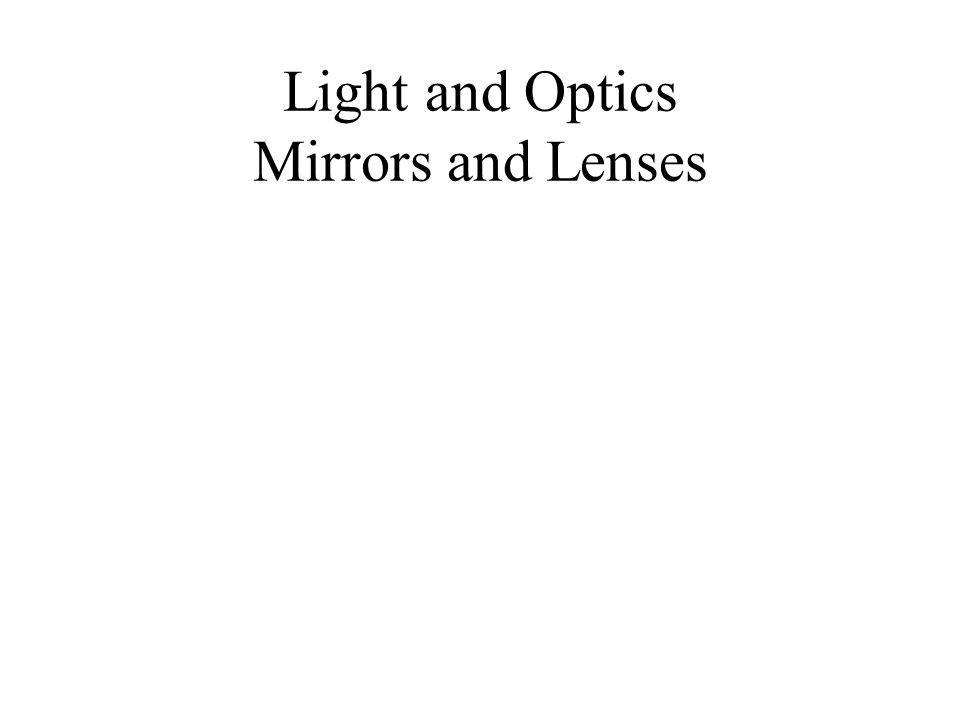 Light and Optics Mirrors and Lenses