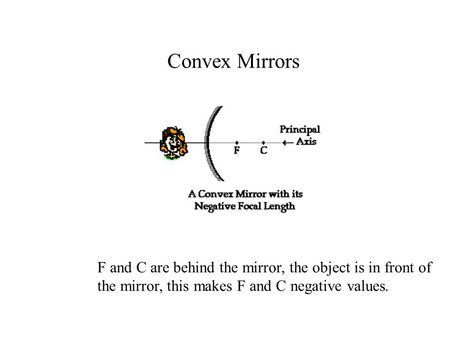 Convex Mirrors F and C are behind the mirror, the object is in front of the mirror, this makes F and C negative values.