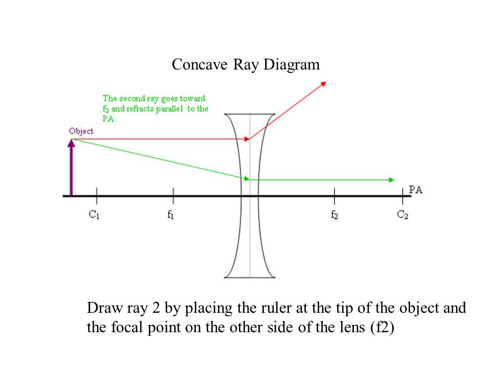 Concave Ray Diagram Draw ray 2 by placing the ruler at the tip of the object and the focal point on the other side of the lens (f2)