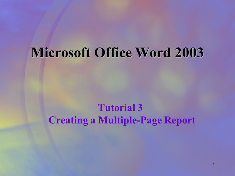 1 Microsoft Office Word 2003 Tutorial 3 Creating a Multiple-Page Report