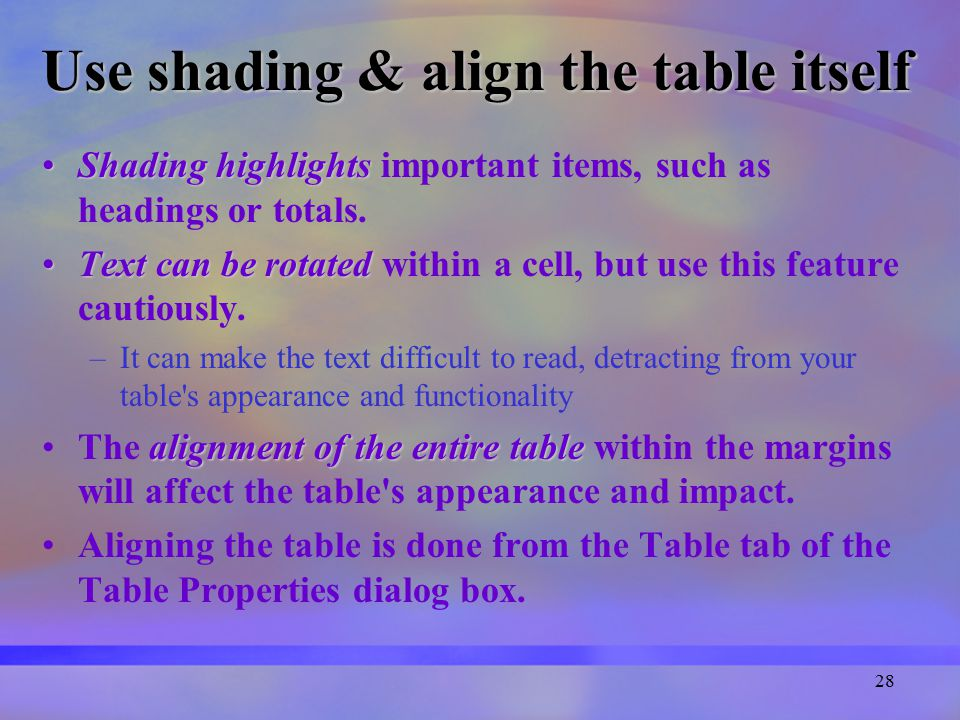 28 Use shading & align the table itself Shading highlightsShading highlights important items, such as headings or totals.