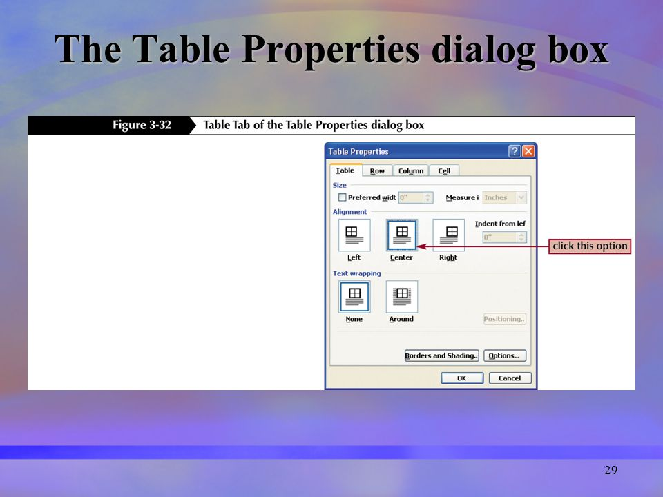 29 The Table Properties dialog box